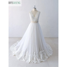 Ivory  Lace  Appliques Satin V Neck Floor Length  A line Wedding dresses Chapel Train  Bridal gown Custom made