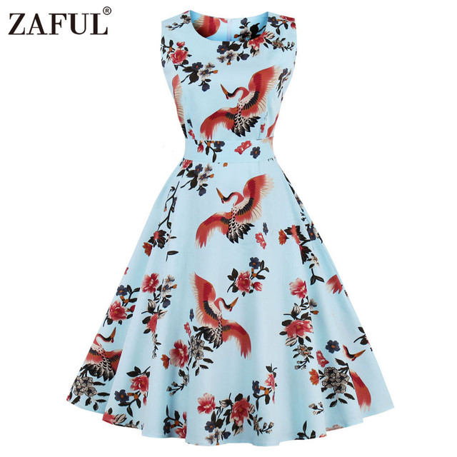 68297cc0681 ZAFUL Women Vintage Summer Dress Round Neck Sleeveless Birds Print Dress  Plus Size 4XL 50s Elegant Sexy Casual Party Swing Dress