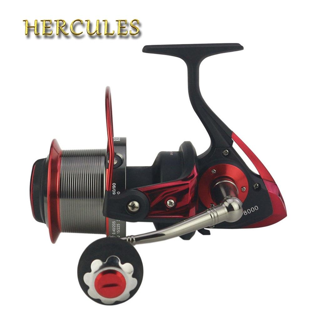 цена на Hercules Spinning Fishing Reel 13+1 BB Ball Bearings G-Ratio 4.1:1 Carp Reels Worm Shaft Distant Wheel Carp Reel Fishing Reel
