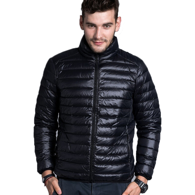 2018 Men Warm Jackets Solid Thin Breathable Winter Jacket Mens ...