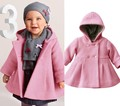 2016 Inverno Nova Jaqueta Casaco Rosa da Forma Do Bebê Do Bebê 1-3 Anos das Crianças Casacos Soild Capuz Outerwear Infantil