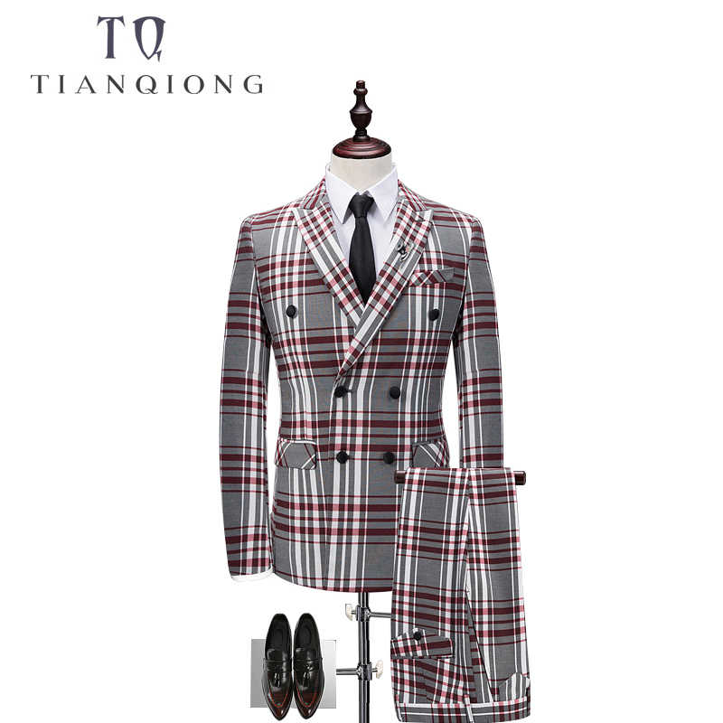 TIAN QIONG Plaid Double-breasted 3 Piece Suit Men Korean Fashion Business Mens Suits Designers 2018 Slim Fit Wedding Suits Men