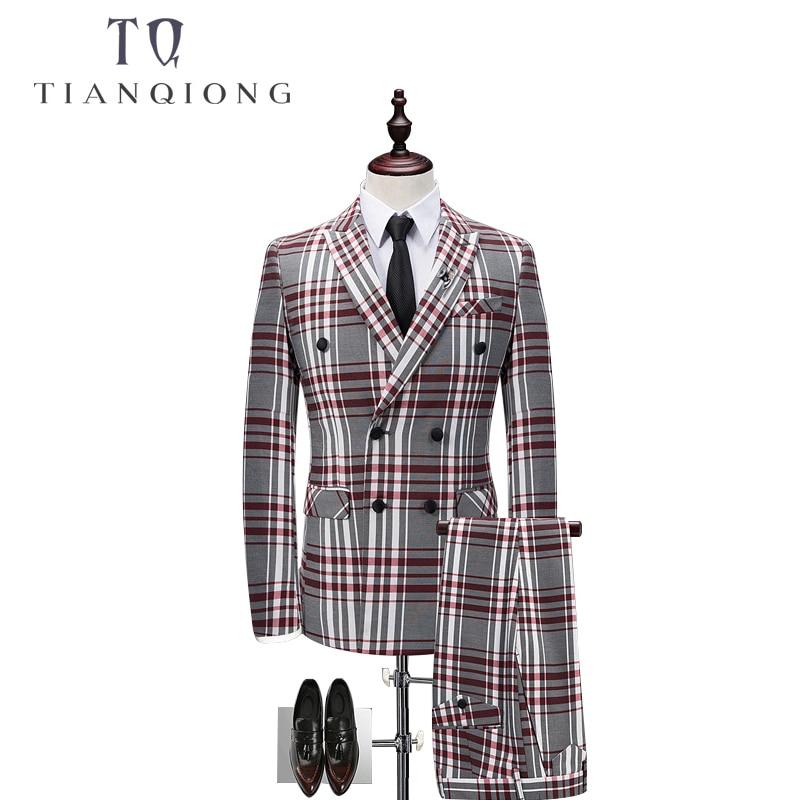 TIAN QIONG Plaid Double-breasted 3 Piece Suit Men Korean Fashion Business Mens Suits Designers 2018 Slim Fit Wedding Suits Men