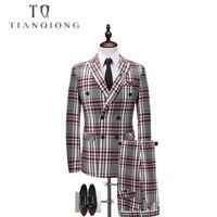 TIAN QIONG Plaid Double breasted 3 Piece Suit Men Korean Fashion Business Mens Suits Designers 2018 Slim Fit Wedding Suits Men