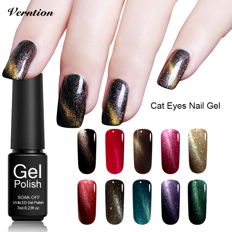 Verntion The Top Gel Nail Polish Design Magnetic Cat Eye Nail Gel Lucky Soak Off 3d Uv Gel Uv