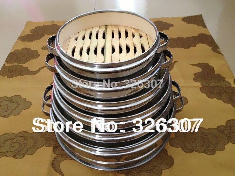 14.5cm 16.5cm 18cm 20cm 22cm 24cm 26cm 30cm Bamboo Steamer Stainless Steel Dumplings Bamboo Steamer Cage Buns 2pcs