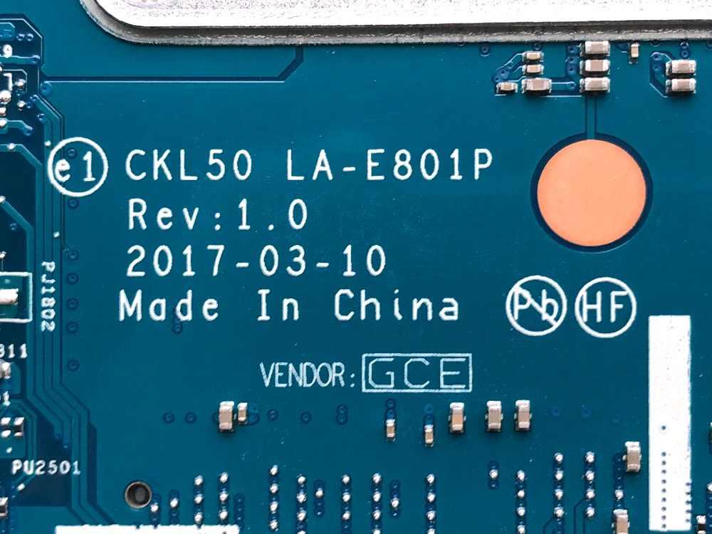 באופן מלא נבדק האם מחשב נייד עבור HP מחברת 15-BS0 סדרת מחשב PN 924751-601 CKL50 LA-E801P עם i5-7200U מעבד DDR4