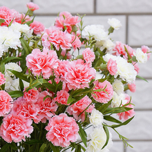 6 Head Artificial Carnation Flower Bouquet Simulation Small Fake Silk Branch Home Decor Floral Festival Gift