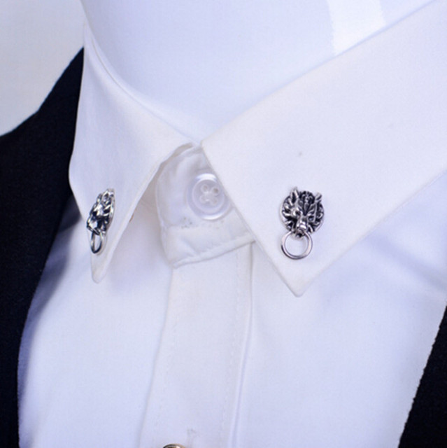 1 пара металлические нагрудные булавки бутоньерка для костюма кнопка для мужчин броши животных Дракон Волк тигр брошь на булавке винтажная для мужчин для женщин воротник булавки