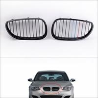Car Front Radiator Grills 2Pcs Gloss Black M color Front Kidney Grille for BMW E60 E61 5 Series Sedan 2004 2010