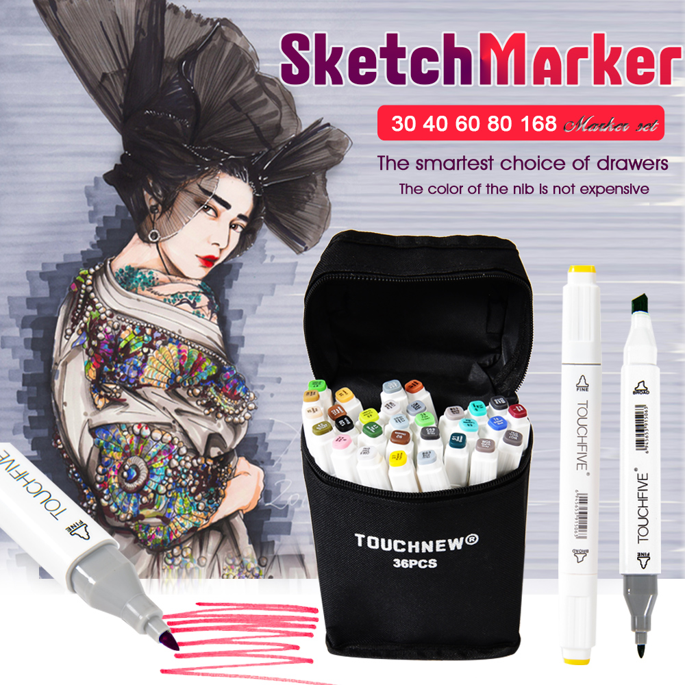Touchfive 30/40/60/80/168Colors Pen Markers Set Dual Head Sketch Copic Markers Pen For Drawing Manga Markers Design Art Supplies bianyo 30 40 60 80 colors set artist dual head oil sketch copic markers set for school drawing sketch marker pen design supplies
