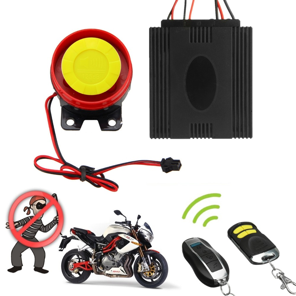 1 Satz Motorrad Alarm Motorrad Bike Roller Schloss Anti-diebstahl-alarmanlage 125db 2 Fernbedienung DC 12 V