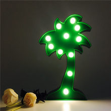 Marquee Letters Led Coconut Tree 3d Light Battery Baby Nightlight Marquee Table Lamp With Warm White Leds For Home Decorations(China)