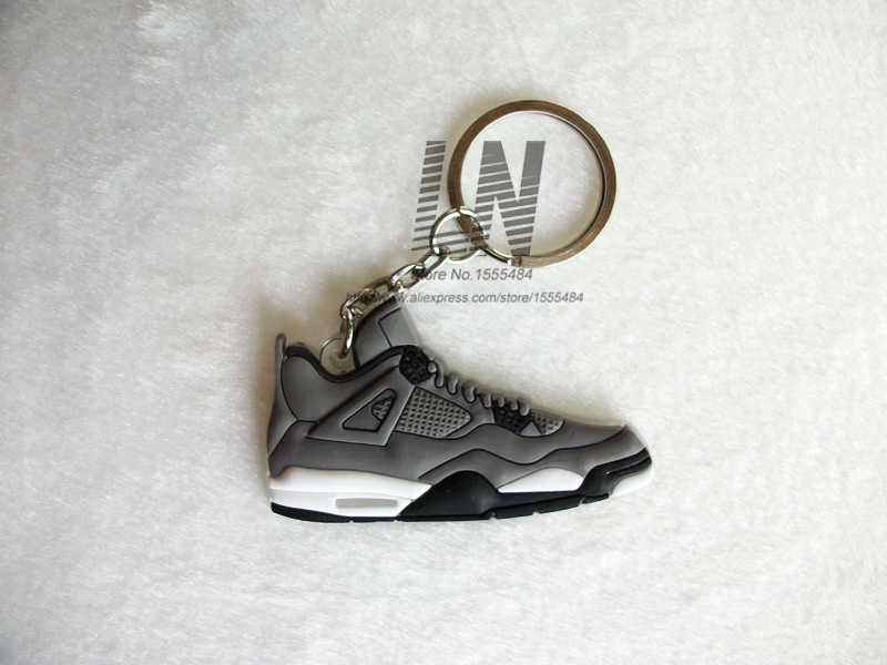 382568dd9 ... Mini Silicone Jordan 4 Keychain Bag Charm Woman Men Kids Key Ring Gifts  Sneaker Key Holder