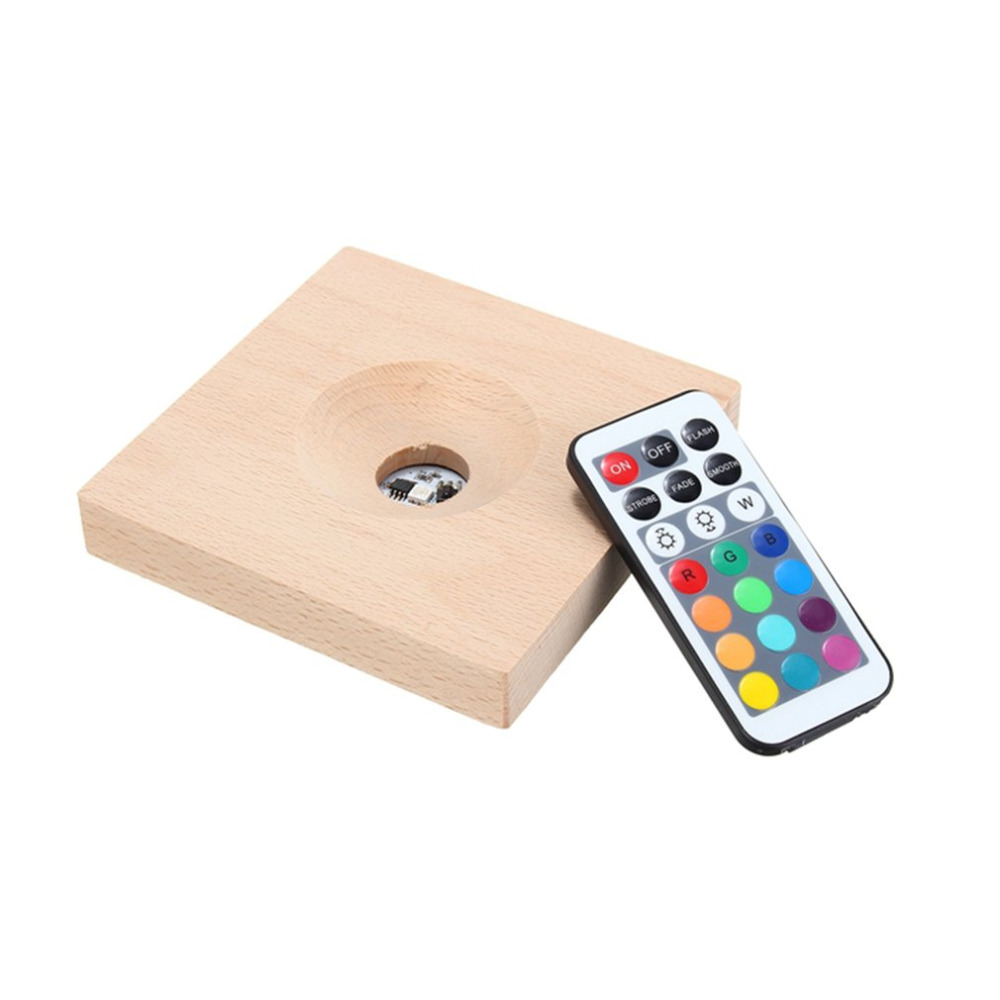 RGB LED Luminescent Wooden Base with Remote Controller for Weather Forecast Crystal Monitor Water Drop Storm Glass Decor Gift