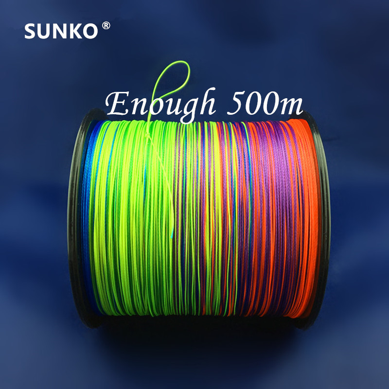 8strands 500M SUNKO brändi japanilainen monitoimipinta PE materiaali värikäs punottu kalastuslinja18 30 40 50 60 70 80 100 120 140 160LB