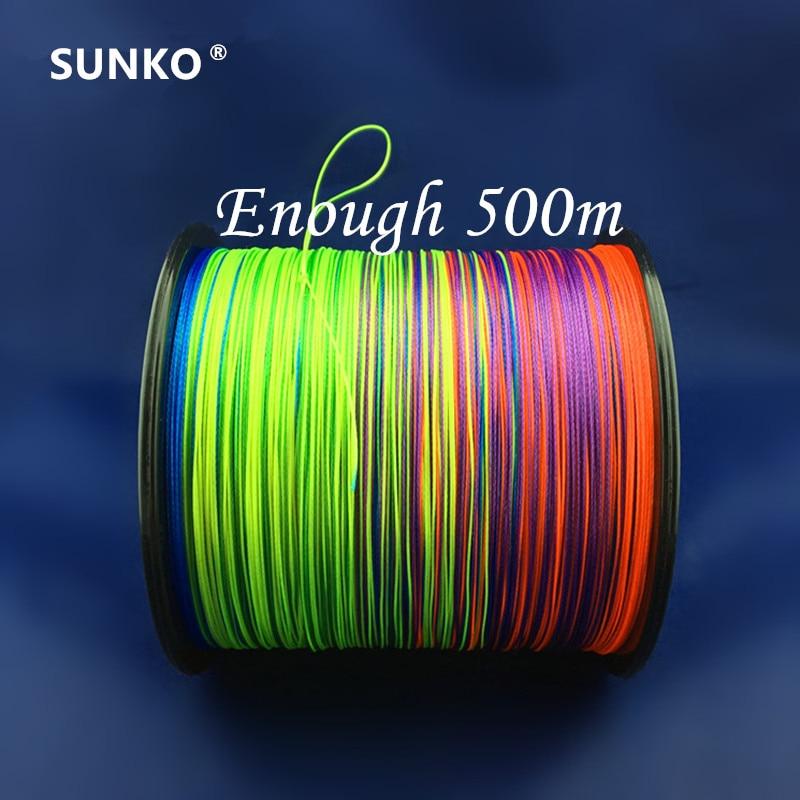8strands 500M SUNKO ապրանքանիշ Japaneseապոնական բազմաֆունկցիոնալ PE նյութական գունագեղ հյուսված ձկնորսական գիծ 18 30 40 50 60 70 70 100 120 140 160LB