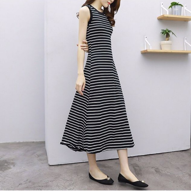 Vintage New Simple Striped Summer Dress O Neck Sleeveless Casual Strap Dress Long Fit And Flare Elegant Slim Dess Female Vestido