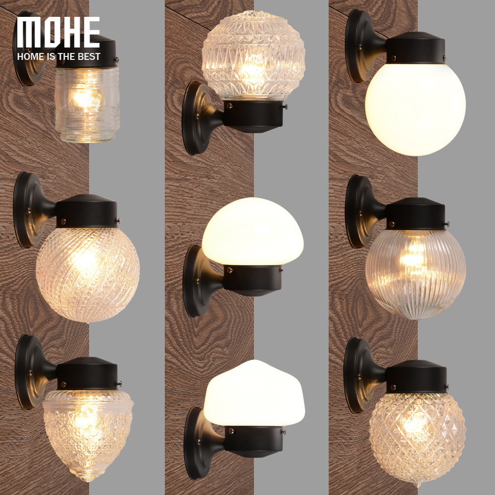 Modern Glass Metal Canopy Sconce Wall Lights Fixtures Retro Vintage Wall Lamp E27 Loft Home Decor