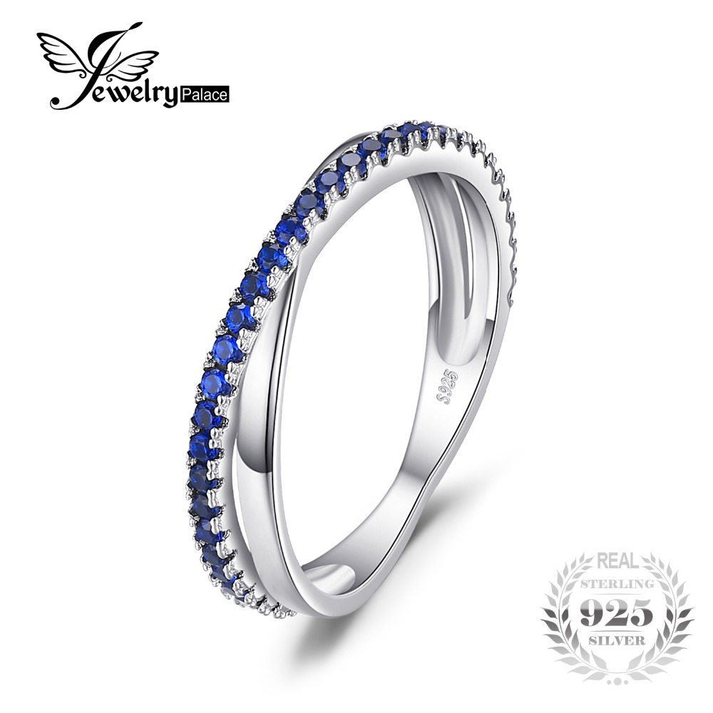 JewelryPalace Round 0.3 ct Created Blue Spinel Trendy Wedding Band Ring For Women Real 925 Sterling Silver Anniversary Jewelry