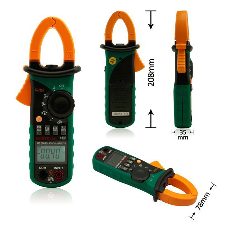 True RMS Digital AC DC Current Clamp Meter MS2108S Multimeter Capacitance Frequency Inrush Current Tester VS MS2108 mastech ms2108s digital ac dc current clamp meter true rms multimeter capacitance frequency inrush current tester vs ms2108