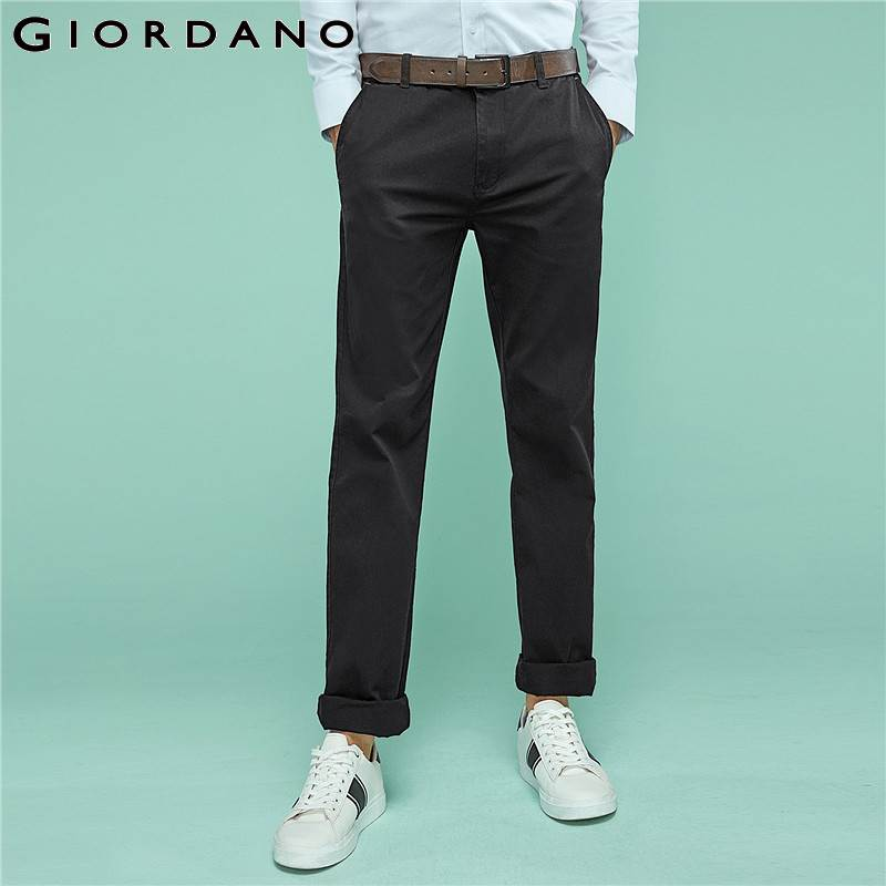 Giordano Men Khakis Twill Pants Ropa Casual Hombre Mid low Rise Khakis Pants Solid Color Inno Trousers Brand Clothing