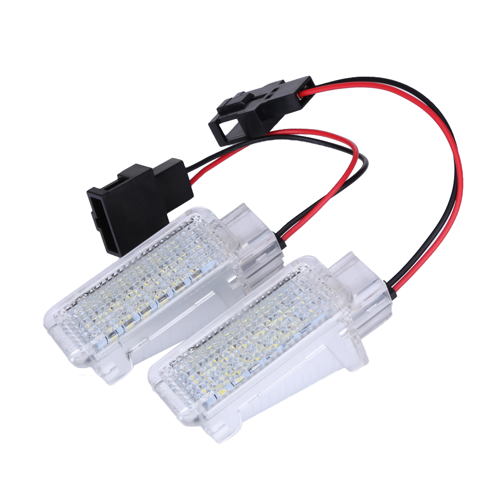 2Pcs/Lot White 18 LED bus Door Courtesy Lights Lamps Interior Light Luggage Lighting For Audi A3 A4 A5 A6 Cars