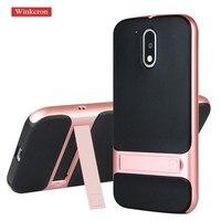 Kickstand Mobile Cases For Motorola Moto G4 G4 Plus Case Cover 5 5 TPU PC Silicone