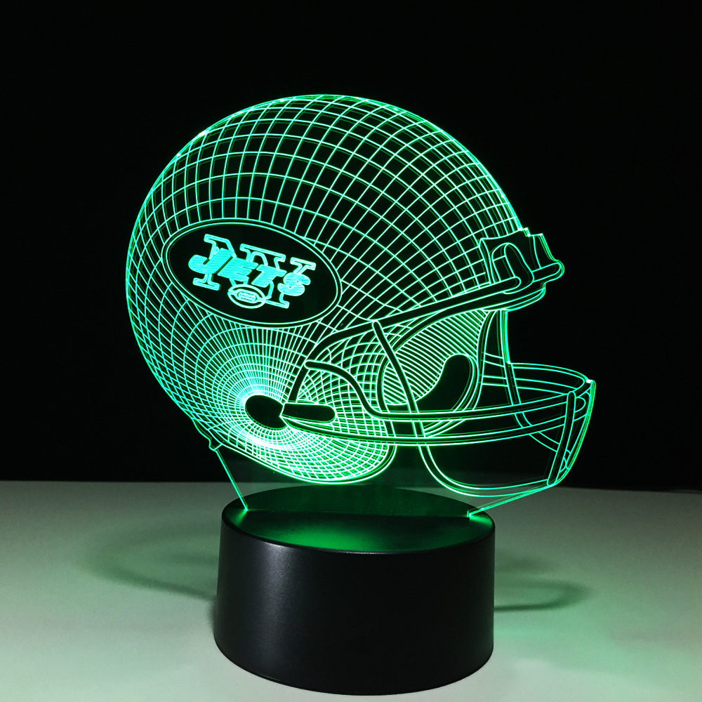 Novelty Football Helmet Night Light Colorful Vision 3D LED Rugby Hat Table Lamp Christmas Gifts Creative Bedside Light Fixture