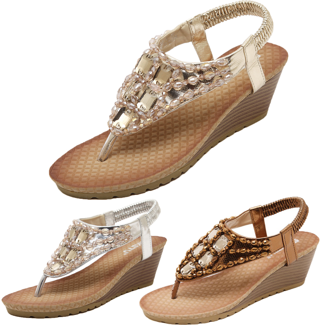 cddcc994172 Women Wedge Sandal Bling Rhinestone Flip Flops Casual Silver Gold Crystal  Platform Sandals Gladiator Shoe Woman Size 35-42