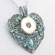 2016 Newest Heart pendant Necklace  Hot Sale snap button jewelry OEM, ODM NE227 (fit 18mm snaps)