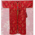 Red Traditional Chinese Men Silk Satin Robe Bathrobe Vintage Dragon Kimono Bath Gown Nightwear Size S M L XL XXL 3XL