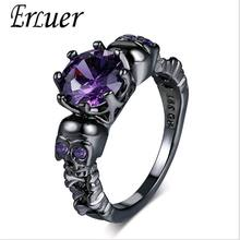 ERLUER Vintage Style Skeleton Finger Round Ring Skull For Women Black Gold Color Purple Crystal CZ Fashion Retro Rings Jewelry(China)