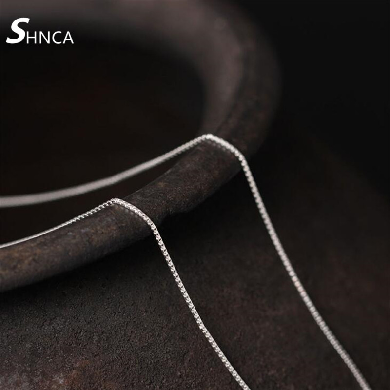 SHNCA Fine Jewelry Genuine 100% 925 Sterling Silver Box Clavicle Chain Accessories 45cm Necklaces & pendants For Women N340