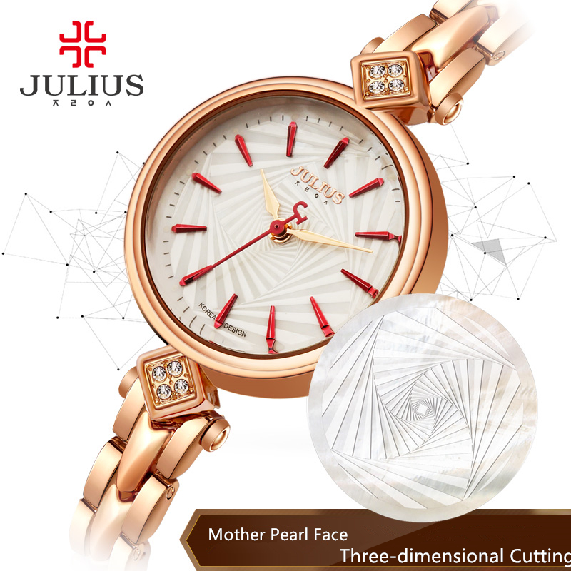 Top Women's Lady Wrist Watch Julius Quartz Hours Best Fashion Bracelet Cutting Shell Rhinestone Birthday Girl Christmas Gift 881