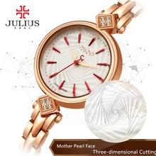 Top Women s Lady Wrist Watch Julius Quartz Hours Best Fashion Bracelet Cutting Shell Rhinestone Birthday