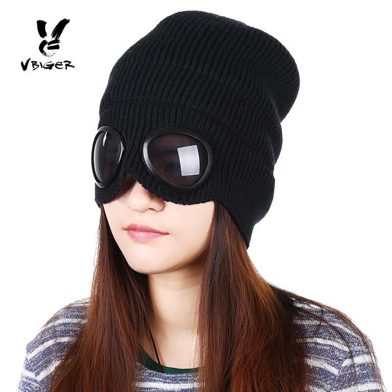 VBIGER Doppel-verwenden Verdickt Winter Gestrickte Hut Warme Mützen Skullies Ski Kappe mit Abnehmbare Gläser für Männer Frauen