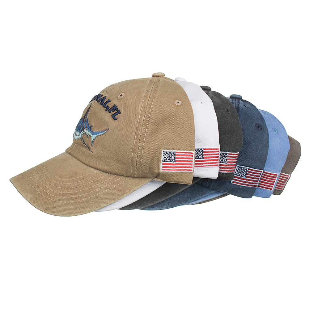 34321812 Details about Baseball Cap Fishing Shark USA Flag Cotton Washed Vintage  Original FL Embroidery