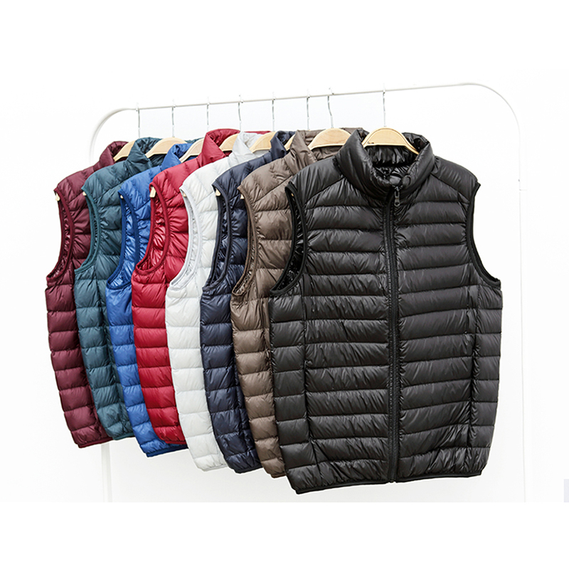 2019 Autumn and Winter Mens Fashion Boutique Duck Feather Casual Stand Collar   Down   Jackets Vest / Lightweight Male   Down     Coats