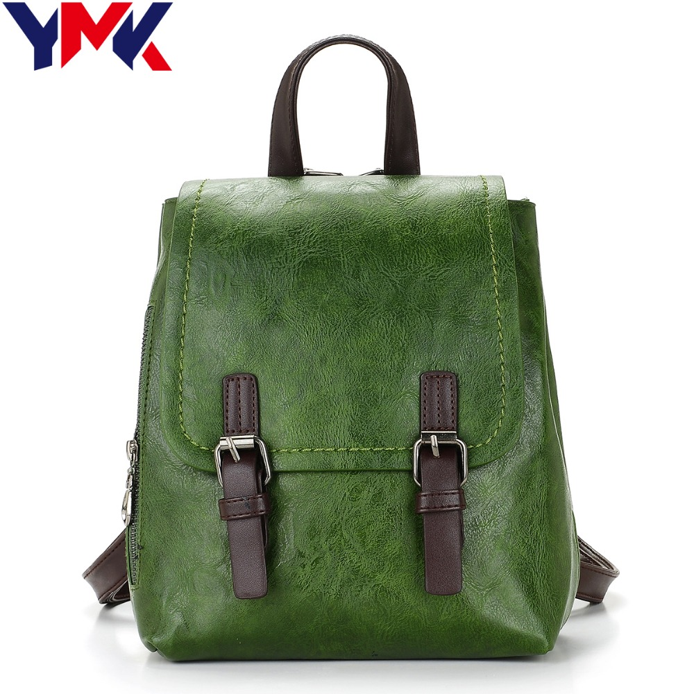 YMK Fashion Backpacks for Teenage Girls Women's PU Leather Backpack School Bag Casual Vintage Large Capacity Travel Backpack jmd backpacks for teenage girls women leather with headphone jack backpack school bag casual large capacity vintage laptop bag