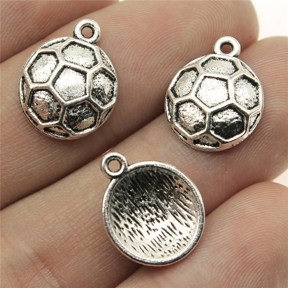 WYSIWYG 10pcs 16*13mm soccer Pendants Charms Findings Jewellery Making Findings for DIY Craft