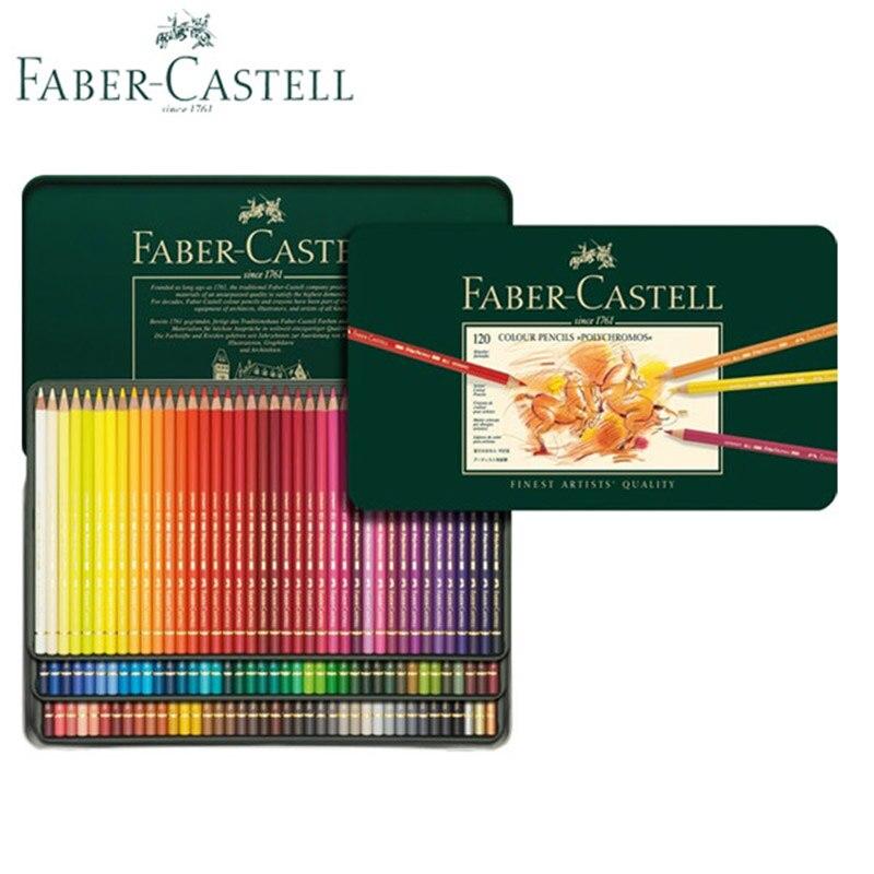 Faber Castell Polychromos crayons de couleur meilleurs artistes qualité, revers couleur Pastel professionnels kit de dessin ensemble d'étain en métal