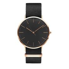 Nueva manera de la alta calidad de la marca de lujo reloj de las mujeres 36 MM nylon NATO correa casual de negocios a prueba de agua reloj de cuarzo de oro rosa