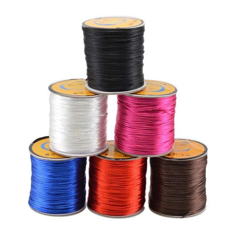 1.5mm Mix Nylon Satin Chinese Knot Silky Macrame Cord Beading Braided Shamballa String Thread 55 meter