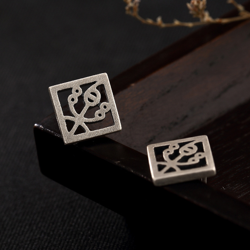 Sterling Silver Antique matte music character hollowed out square personality unique ladies earrings earrings wholesale