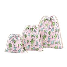 2019 New Fashion Men Women Backpack Cactus Print Sack Travel Drawstring Bags Rucksack