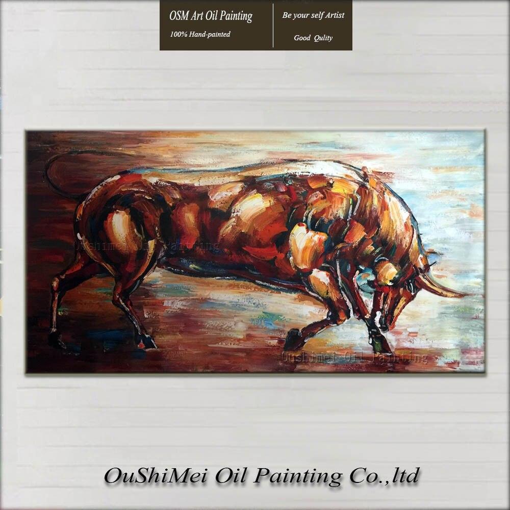 Nouveaux Animaux Peintures Peint A La Main Couteau Taureau Peinture Moderne Ox Peintures Toile Accrocher Photo Decor A La Maison Brun Peinture A L Huile Aliexpress