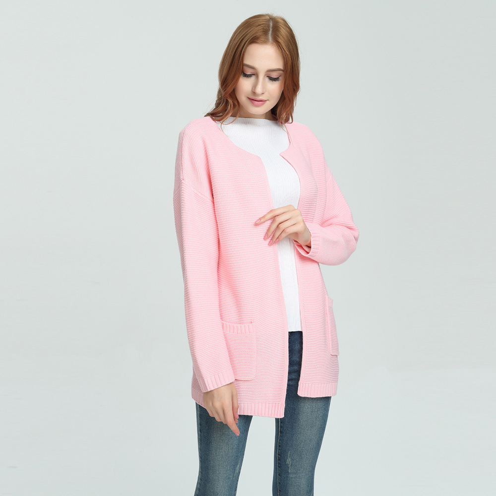 2018 Autumn soft loose knitted cardigan female Spring women pink elegant sweater cardigan coat Causal sweater jumper outerwear