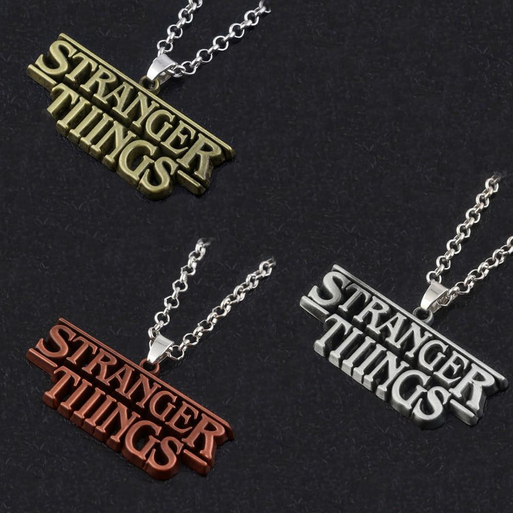 RJ New Stranger Things Letter Pendants Necklaces High Quality Antique Copper/Silver/Bronze Souvenir Men Women Keyring Gift