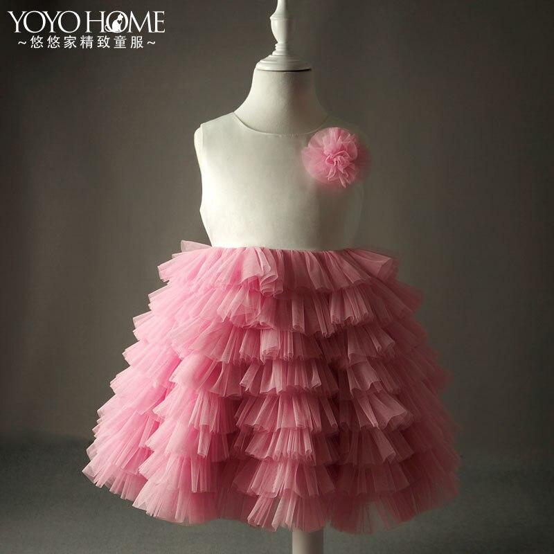 Longues fleurs personnalisées haut de gamme enfants robe filles Tutu robe de princesse costumes et performances